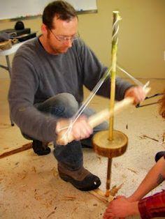 Pump drill survival fire making method.