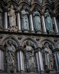 Nidarosdomen Trondheim #Norway - northernmost #medieval cathedral in the world - detail of #gothic sculpted figures on the facade