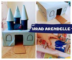 Doma vyrobený hrad (zámek) pro Elsu a Annu. Aneb když dítě zavelí, že chce hrad... Tvořeno z papírových krabic a ruliček od toaletního papíru.