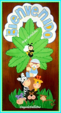 45 Preschool Classroom Decor, Preschool Crafts, Diy Wall Art, Canvas Wall Art, Jungle Crafts, Art For Kids, Crafts For Kids, Felt Wreath, Baby Shawer