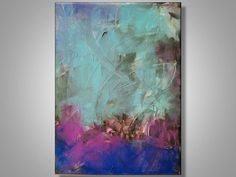Original Abstract Painting Modern Art Blue White by ShaunTiedemann