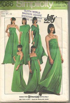 1970s Wrap Dress Evening Length Stretch Knits Only Jiffy