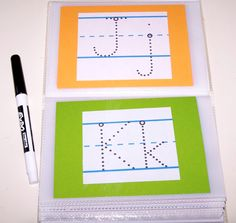 This trick could also be adapted for math practice — read more about it here.Repurpose a photo album to be a reusable, traceable handwriting and alphabet practice book. Preschool Classroom, Classroom Activities, Classroom Organization, Classroom Ideas, Preschool Ideas, Dollar Tree Classroom, Teaching Ideas, Dinosaur Classroom, Preschool Writing