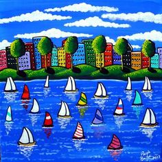 """""""Spring Sail"""" by Renie Britenbucher: Spring has sprung and many lovers of sailing have launched their boats. A colorful cityscape is in the background."""