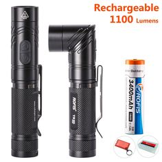 Rofis TR20 Rechargeable Angle head Flashlight 1100 Lumen with Strobe SOS, Best EDC Torch Light with Holster, Cree XPL Hi-V3 LED, 6 Modes, Waterproof IPX-8, Include 3400mAh 18650 Battery, Lanyard, Clip -- Trust me, this is great! Click the image. : Camping stuff