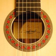 Juan Miguel Gonzalez Flamenco guitar rosette and label