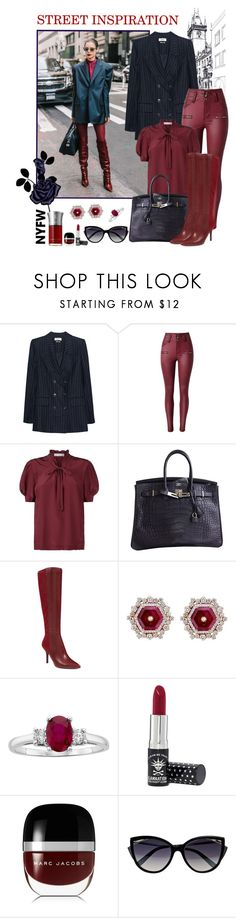 """""""Street Inspiration: Oversized Jacket"""" by kaypearl ❤ liked on Polyvore featuring Péro, Étoile Isabel Marant, Sandro, Hermès, Nine West, Manic Panic NYC, Marc Jacobs, La Perla, Les Liquides Imaginaires and contestentry"""