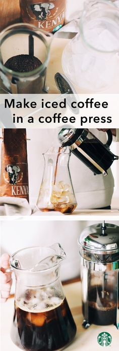 How to make iced coffee in a coffee press: Make double strength coffee by using 6oz of hot water for every 4TBSP of ground coffee (we recommend Kenya). Brew for 4 minutes. Press the plunger down. Pour over a full glass of ice.