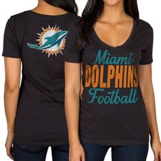 Miami Dolphins Women's Front and Back V-Neck T-Shirt – Black