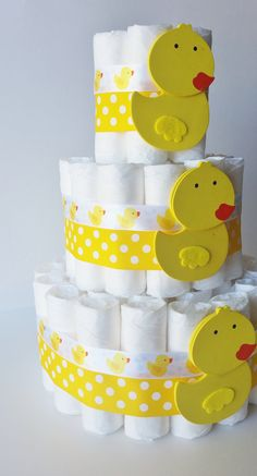 Duck Diaper Cake Rubber Ducky Diaper Gift by LilLoveBugsCreations