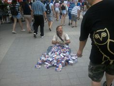 """""""They were giving out free boxes of Frosted Flakes at a Jays game. Homeless guy was particularly grateful."""""""