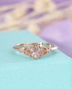 Morganite ring Unique engagement ring Rose gold Vintage Antique Art deco Halo diamond wedding Flower Bridal Jewelry Promise Gift for women by HelloRing on Etsy https://www.etsy.com/listing/559524075/morganite-ring-unique-engagement-ring