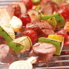 Smoked Sausage Kabobs Allrecipes.com Substitute out apples for chunks of pineapple.