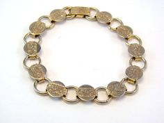 Vintage Gold Tone Sarah Coventry Hammered Links Bracelet #vintagejewelry, #retro, #jewelry