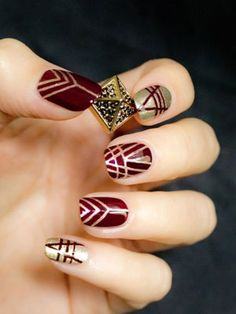 Great Gatsby art deco inspired nail art