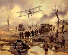 """Otro cuadro de una de estas """"jaulas de gallinas"""" voladoras , un biplaza FE8 del 41 Squadron, sobrevolando una pieza de artillería pesada británica en el embarrado campo de batalla del Somme, octubre de 1916. Cuadro de Michael Turner"""