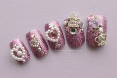 Lilac Princess Fake Nails Japanese 3D Nail by NeverTooMuchGlitter
