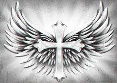 Resultado de imagem para cool cross drawings with wings