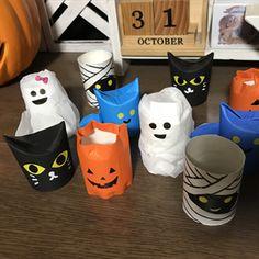 トイレットペーパーの芯を材料にハロウィンのカボチャやおばけの人形を作ります。用意する物トイレットペーパーの芯、油性マジック、ハサミ、のり、一つ穴開けパンチ、折り紙、ティッシュ、ピンセット。かぼちゃの人形の作り方トイレットペーパーの芯をハ.. Toilet Roll Art, Halloween Doll, Mini Games, October, Dolls, Crafts, Paper Envelopes, Manualidades, Puppets