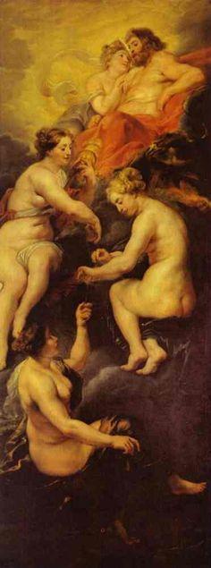"""""""Cycle de Marie de Médicis: Les Parques filant le destin de Marie de Médicis"""" by Sir Peter Paul Rubens (1621-1625) @ Musée du Louvre, Paris, France"""