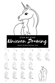 Learning how to draw a unicorn is easy with this step by step drawing tutorial. In no time at all, you can make a beautiful unicorn drawing. Unicorn Drawing, Cartoon Unicorn, Unicorn Art, How To Draw Unicorn, Realistic Drawings, Cartoon Drawings, Easy Drawings, Unicorn Birthday Cards, Unicorn Valentine