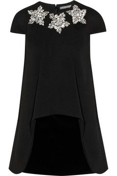 Alexander McQueen Crystal-embellished stretch-wool and velvet mini dress | NET-A-PORTER