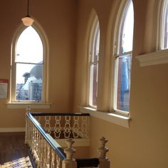 Beautiful cathedral shaped windows of the Ryman