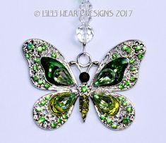 m/w Swarovski Crystal Vintage Beaded Strand Silver Plated Rhinestone Enamel GREEN BUTTERFLY Suncatcher Car Charm Lilli Heart Designs by LilliHeartDesigns on Etsy