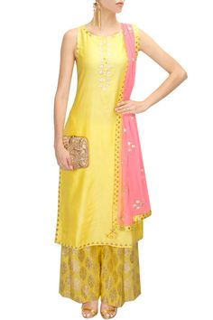 Amrita Thakur presents Yellow and neon pink gota patti work kurta set available only at Pernia's Pop-Up Shop. Anarkali Dress, Pakistani Dresses, Kurti Skirt, Skirt Pants, Indian Dresses, Ethnic Outfits, Indian Outfits, Salwar Kameez, Sharara