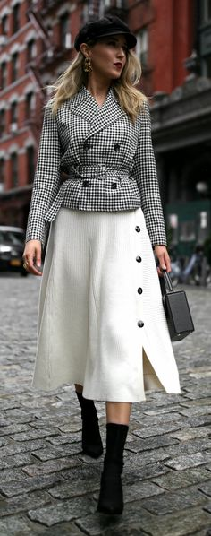 Gingham Jacket, Ivory Midi Skirt, & Baker Boy Hat // Gingham belted blazer jacket, ivory ribbed midi skirt with buttons, baker boy hat, sculptural gold earrings, black cling stretch booties, black top handle box bag, deep red lip {Alexander Wang, Brixton, Tibi, Stuart Weitzman, Victoria Beckham, spring outfits, chic style, classic style, workwear outfits, fashionable workwear, nyc fashion blogger} #skirtoutfits