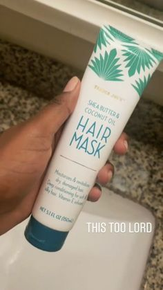 Trader Joe's she's butter and coconut oil hair mask Coconut Oil Hair Treatment, Coconut Oil Hair Growth, Coconut Oil Hair Mask, Coconut Oil For Face, How To Grow Natural Hair, Natural Hair Tips, Natural Hair Styles, Oil For Curly Hair, Diy Hair Mask