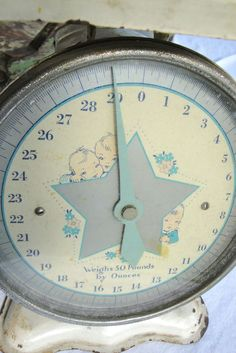 Vintage Baby Scale Metal White Silver Star