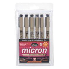Sakura Pigma Micron Pen - 6 piece Set, Assorted Colors