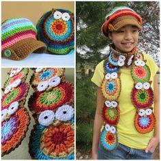 Art Crochet owls scarf and hat crochet