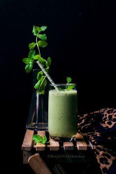 Salted Cucumber Mint Lassi - Binjal's VEG Kitchen