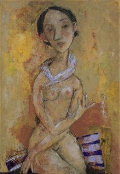 GIRL WITH RING, oil on canvas, 65x45cm, 2008 © Svetlana Kurmaz Canvas Size, Oil On Canvas, Folk Art, Statue, Rings, Artist, Russian Art, Image, Paintings