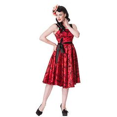 Hell Bunny Flocked Tattoo Print Rockabilly Vintage 50s Style Party Prom Dress