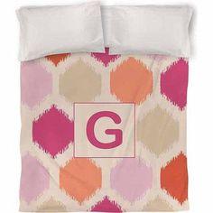 Thumbprintz Batik Monogram Duvet Cover, Pink