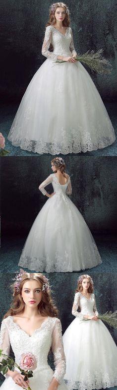 Ball Gown Wedding Dresses V-neck Floor-length Sexy Bridal Gown JKS255#annapromdress #weddingdress #wedding #bridalgown #BridalGowns #cheapweddingdress #fashion #style #dance #bridal #longsleeve #ballgown