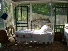 """Sleeping porch - Many of these were around back before water coolers or air conditioning. And It was fun and a treat to get to sleep out on the porch. We would tell ghost stories and someone would say, """"What was that?"""" We'd scream and spend the rest of the night in the hot house!"""