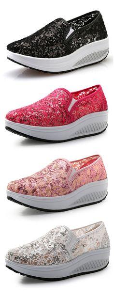 $18.46 Lace Paillette Shiny Breathabel Rocker Sole Shoes For Women,sport shoes women,women's sport shoes,casual shoes for women