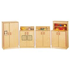 Jonti-Craft Home Indoor Kids Playschool Classroom Kindergarten ThriftyKYDZ Natural Birch Kitchen - 4 Piece Set * You can find more details by visiting the image link. (This is an affiliate link) #KidsFurnitureDcorStorage