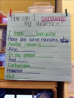 I like this because it fits the opinion standards too.. K-4 writing standards ask for an opinion writing with reasons why not persuasive. They don't have to try to convince someone to feel the same way or provide the other point of view!