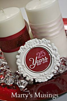 Marty's Musings: 25th Valentine's Wedding Anniversary Decorations. These would be great for any Valentine's party or wedding/love themed gathering.