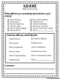 Student Writing Self-Assessment and Goals Third Grade Writing, Middle School Writing, Kids Writing, Teaching Writing, Writing A Book, Writing Ideas, Writing Goals, Writing Lessons, Writing Workshop