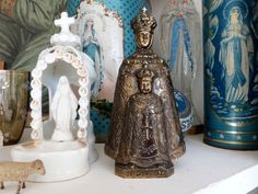 Madonna with child Jesus Christ statue Antique French religious our lady of du Puy statue sculpture Holy Mother and child, devotional art
