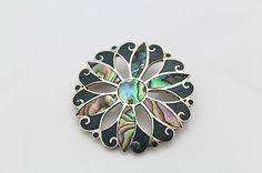 Vintage Sterling Silver M. Ocampo Taxco Abalone Flower Brooch N498