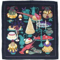 Gastronomie by Christiane Vauzelles Hermès Silk Scarf: Shades of Black   Vintage Carré   @vintagecarre   www.vintagecarre.com