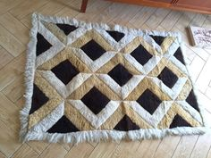 Geometric Fur Floor rug / Beige Brown  White Thick by ShopRachaels