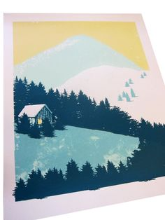 Mountain Scene No. Limited Edition Screen Print - 3 colour Hand pulled silkscreen print from a limited edition of Signed, dated and Linocut Prints, Art Prints, Silkscreen, Gig Poster, Silk Screen Printing, Graphic Illustration, Bunt, Making Ideas, Printmaking